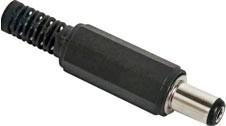 Hohlstecker mit Knickschutz, 2,5 x 5,5mm, Schaftlänge 9mm