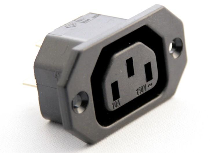 10 x Kaltgeräte-Einbaudose, Lochabstand = 40mm, Anschluss 6,3mm