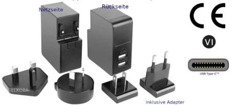 5V 5,4A USB-Netzteil mit 2 x USB A Buchse und 1 x USB C Buchse