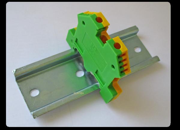 5 x Reihenklemme 6mm für Hutschiene 2,5mm² grün-gelb