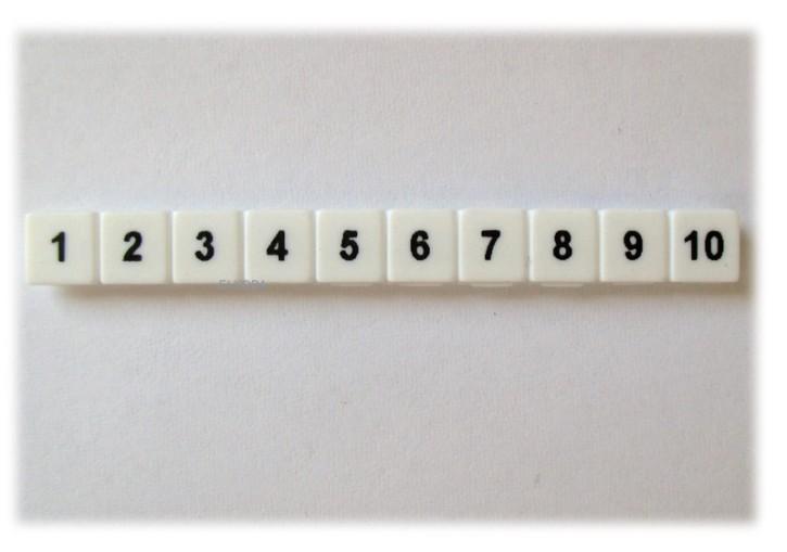 10 x Beschriftung Reihenklemme 5mm nummerisch 1 bis 10