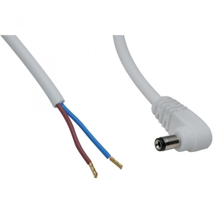 DC-Kabel 2 x 0,5 mm² mit DC-Hohlstecker gewinkelt 2,1x5,5 mm Schaft 9,5 mm, 2 m, weiß