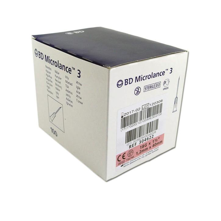 100 Stück Einweg-Kanüle BD Microlance 3 rosa 1,2 x 40 mm (18G) - REF304622