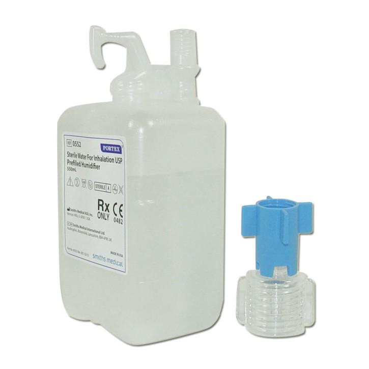 Portex steriles Wasser zur Inhalation 550 ml inkl. Adapter