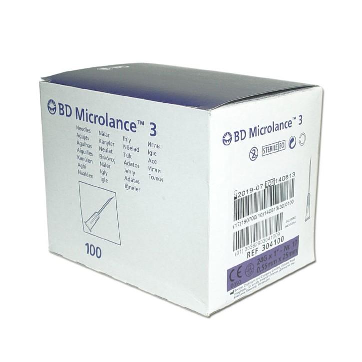 "100 Stück Einweg-Kanüle BD Microlance 3 Nr. 17 violett (lila) 0,55 x 25 mm (24G x 1"")"