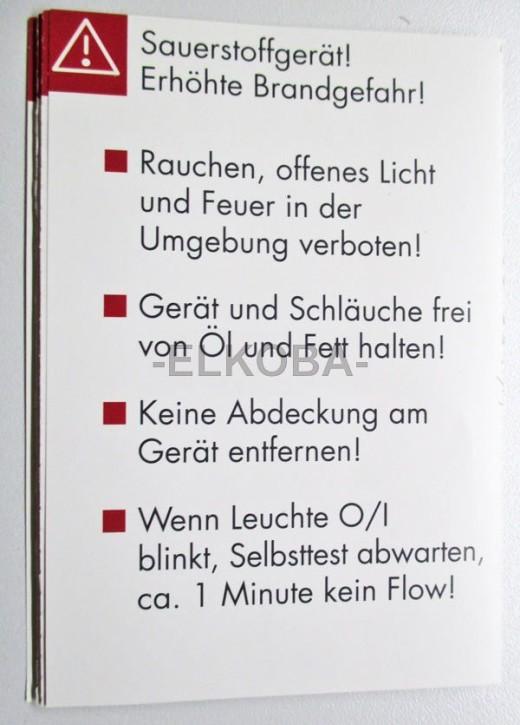 Warnhinweis für  Weinmann Oxymat 3 einzeln