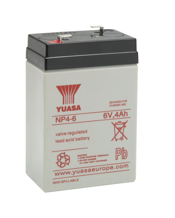 YUASA NP4-6 Bleiakku 6V / 4Ah, 70 x 47 x 106mm (LxBxH) Flachstecker 4,8mm