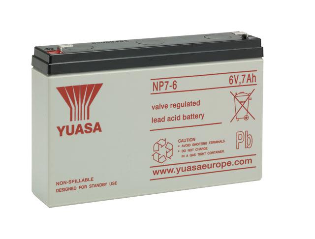 YUASA NP7-6 Bleiakku 6V / 7Ah, 151 x 34 x 98mm (LxBxH) Flachstecker 4,8mm