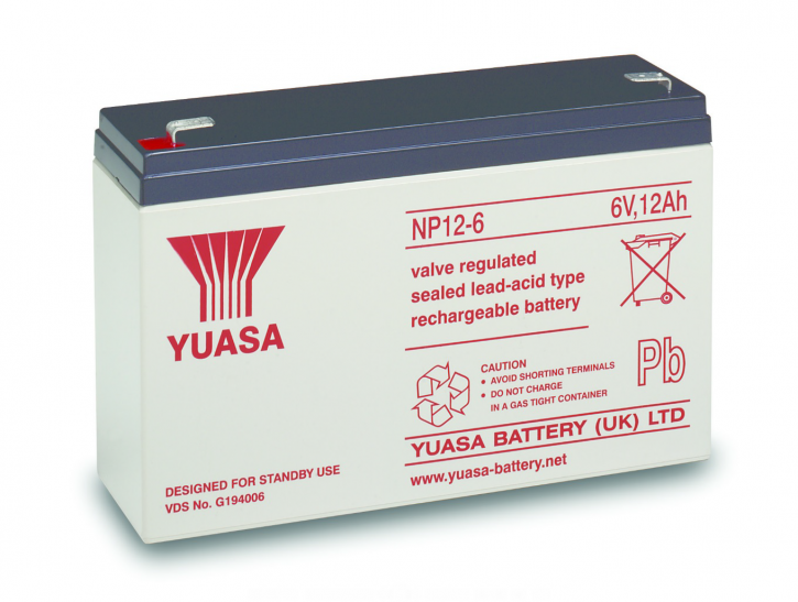 YUASA NP12-6 Bleiakku 6V / 12Ah, 151 x 50 x 98mm (LxBxH) Flachstecker 6,3mm