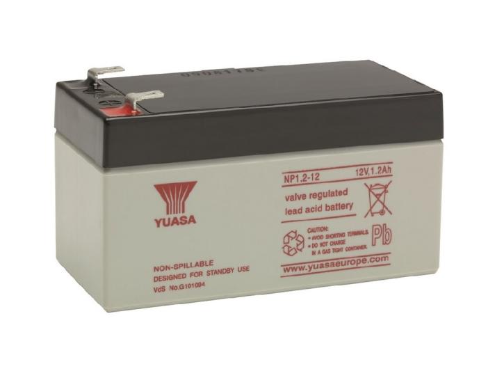 YUASA NP1.2-12 Bleiakku 12V / 1Ah, 97 x 48 x 55mm (LxBxH) Flachstecker 4,8mm