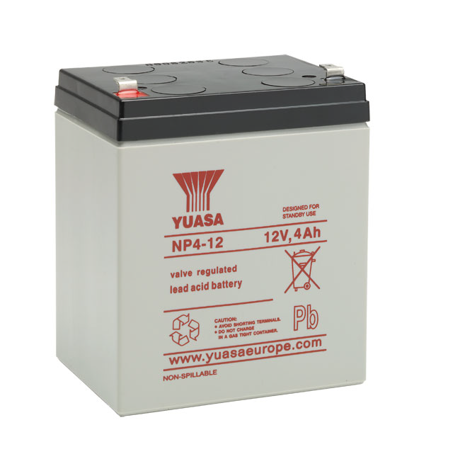YUASA NP4-12 Bleiakku 12V / 4Ah, 90 x 70 x 106mm (LxBxH) Flachstecker 4,8mm