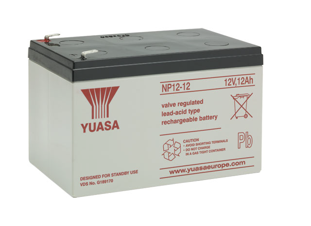 YUASA NP12-12 Bleiakku 12V / 12Ah, 151 x 98 x 98mm (LxBxH) Flachstecker 6,3mm