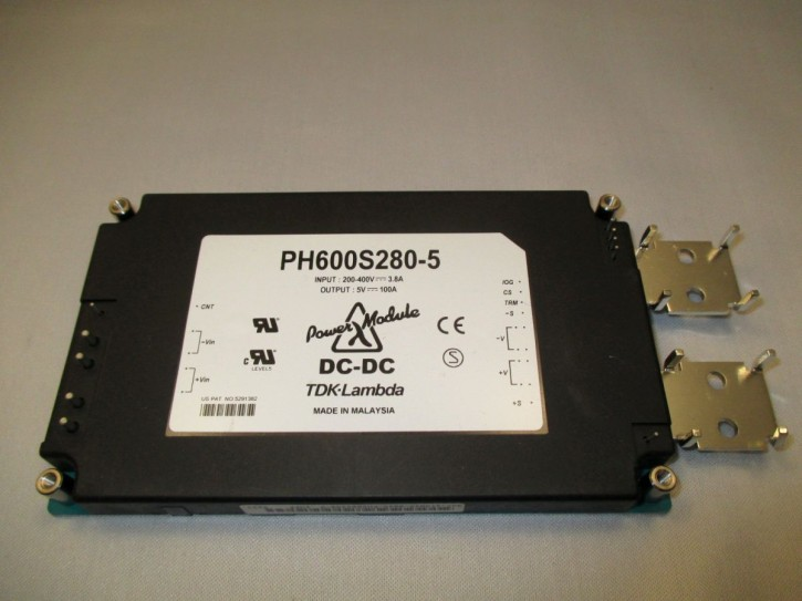 TDK-Lambda DC-DC, INPUT 200V DC to 400V DC, Out 5V at 100A, Typ PH600S280-5