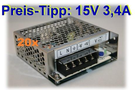 20 x Praktisches 15V Netzteil 50W von TDK Lambda Typ LS-50-15, einstellbar auf 13V