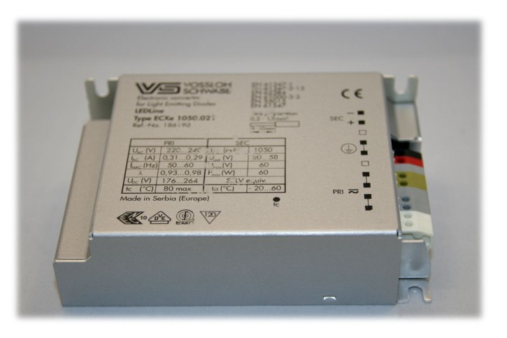 LED-supply constant-current 1050mA, 20V-58V DC, Vossloh Schwabe ComfortLine ECXe 1050.021