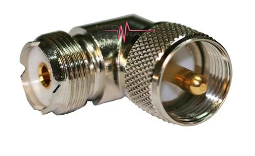 Adapter Winkel UHF- und PL-Buchse auf UHF-Stecker