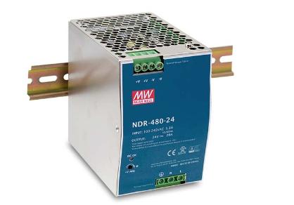 MEANWELL NDR-480-24 Netzteil Hutschiene 24V / 20A, 85 x 128 x 125mm (LxBxH)