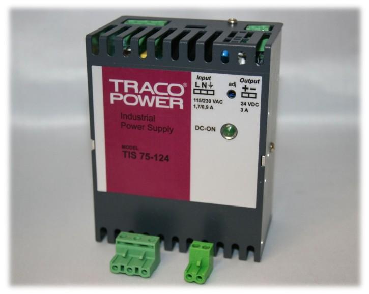 TIS-75-124, Hutschienen-Netzteil Traco 24V 75W, geprüft auf 110% Last