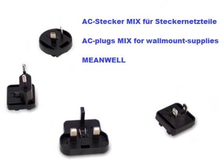 Steckeraufsatz für MeanWell-Steckernetzteile, Komplettsatz AUS, EU, US, UK