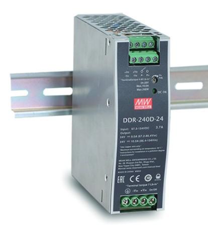 MEANWELL DDR-240B-48 Netzteil DC-Wandler Hutschiene 48V / 5A, 40 x 125 x 114mm (LxBxH)