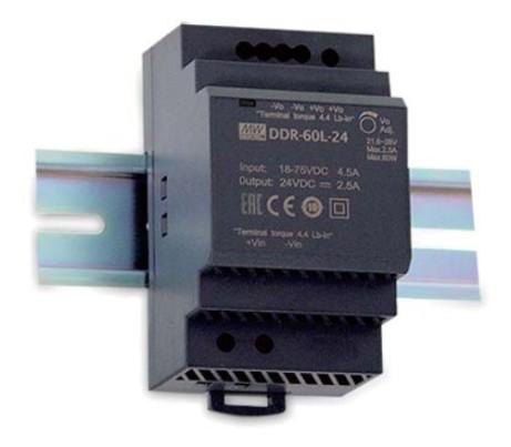 MEANWELL DDR-60G-24 Netzteil DC-Wandler Hutschiene 24V / 2,5A, 53 x 90 x 55mm (LxBxH)