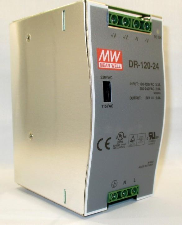 MEANWELL DR-120-24 Netzteil Hutschiene 24V / 5A, 65 x 100 x 125mm (LxBxH)