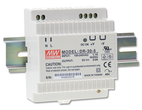 MEANWELL DR-30-24 Netzteil Hutschiene 24V / 1,5A, 78 x 56 x 93mm (LxBxH)