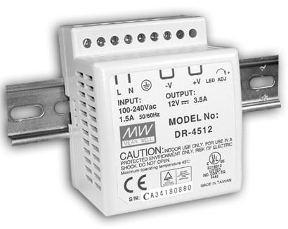 12V Hutschienen-Netzteil 3,5A 42W MeanWell DR-4512