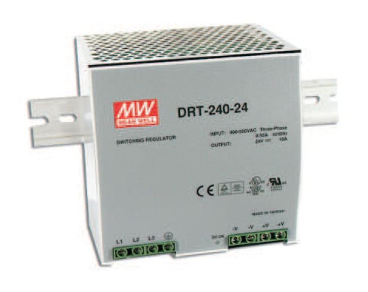 MEANWELL DRT-240-24 Netzteil 2/3 Phasen Hutschiene 24V / 10A, 125 x 125 x 100mm (LxBxH)