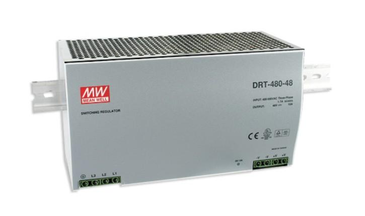 MEANWELL DRT-480-24 Netzteil 2/3 Phasen Hutschiene 24V / 20A, 227 x 125 x 100mm (LxBxH)