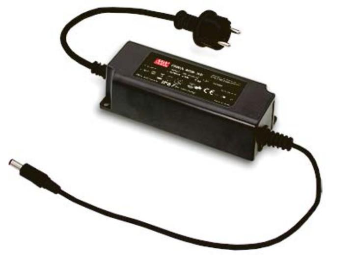 12V 60W LED-Netzteil schwarz mit Hohlstecker 2,1mm 5A IP67
