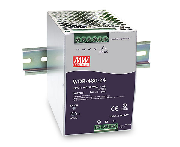 24V 480W Netzteil für Hutschiene MeanWell WDR-480-24