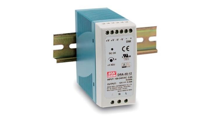 MEANWELL DRA-60-24 Netzteil Hutschiene stromregelbar 24V / 2,5A, 100 x 40 x 90mm (LxBxH)