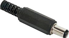 DC-connector with bend-protection, 2,5 x 5,5mm, con-length 9mm