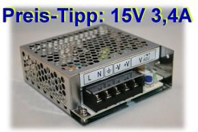 Praktisches 15V Netzteil 50W von TDK Lambda Typ LS-50-15, einstellbar auf 13V